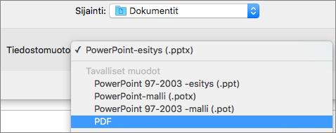 Näyttää PDF-vaihtoehdon Tallenna nimellä -valintaikkunan Tiedostomuodot-luettelossa PowerPoint 2016 for Macissa.