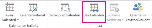 Outlook 2013:n Aloitus-välilehden Jaa kalenteri -painike
