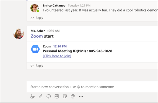 Zoomaus-linkki Microsoft teams-kanavalla
