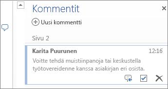 Ketjutetut kommentit Word Onlinessa