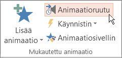 Animaatioruudun avaaminen