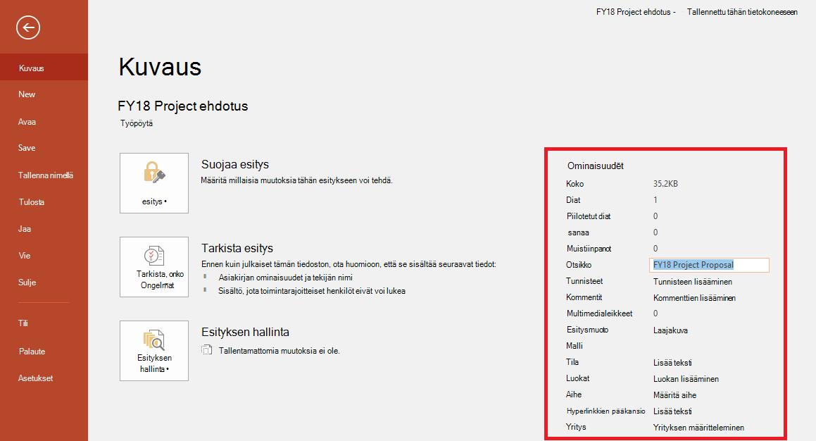Office-asiakirjan ominaisuudet – Tiedosto > Tiedot -ruutu