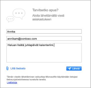 Ota yhteyttä tukeen-valintaikkunan kohtaa, johon voit kirjoittaa viestin ja Liitä kuvia