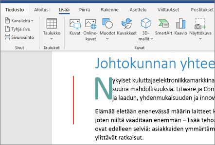 Office 365 Word Kuvat SmartArt-kaaviot