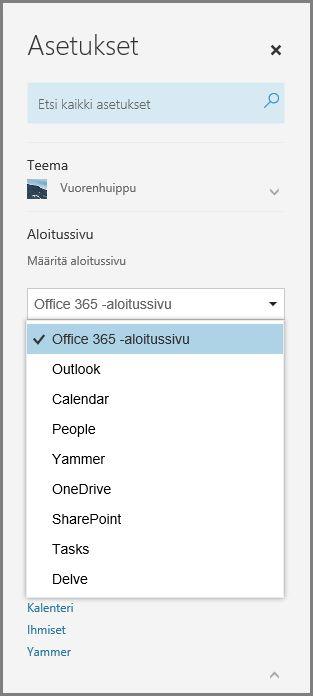 Office 365 -aloitussivun vaihtaminen
