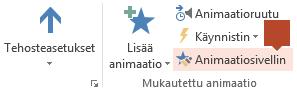 Animaatiosivellin on käytettävissä Animaatio-työkalujen valintanauhassa, kun diasta on valittu animoitua sisältöä.