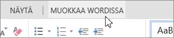 Avaa Wordissa -painike