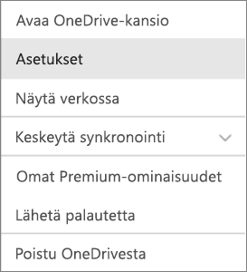 Macin OneDrive-sovelluksen toimintokeskus