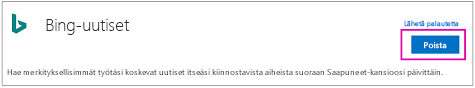 Bing-uutiset-yhdistimen Poista-painike