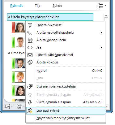 Luo uusi ryhmä -painike valittuna (napsautettu hiiren kakkospainikkeella olemassa olevan ryhmän nimeä)