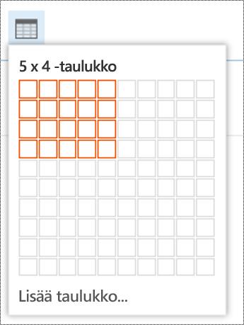 Lisää yksinkertainen taulukko Outlookin verkkoversiossa.