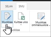 Sivu-välilehti, jossa Muokkaa-painike on korostettuna