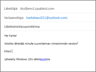 Täytä sähköpostin aihe ja tekstiosa ja valitse Lähetä.
