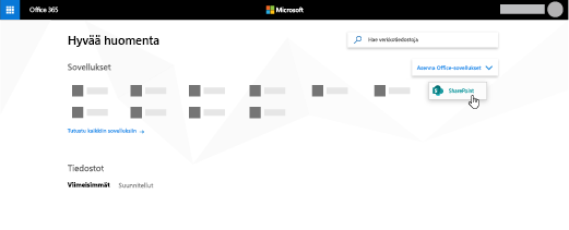 Office 365 -aloitussivu, jossa SharePoint-sovellus on korostettu