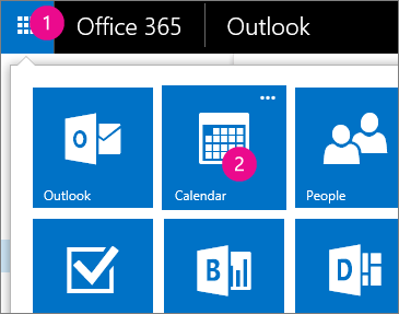 Outlook Web App, kalenterin avaaminen