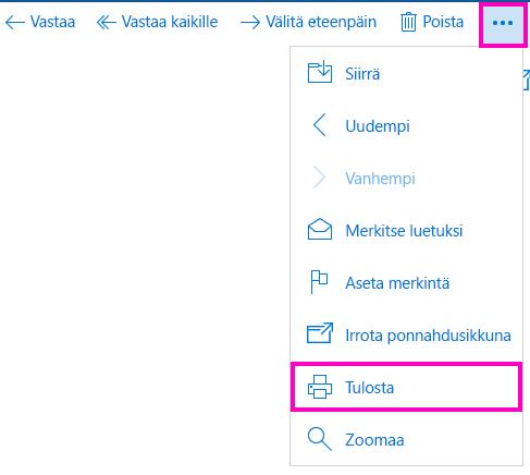 Sähköpostiviestin tulostaminen Windows 10:n sähköpostisovelluksessa