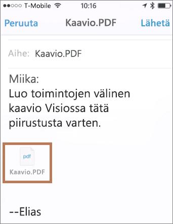 Sähköpostin ja liitekuvan lähettäminen