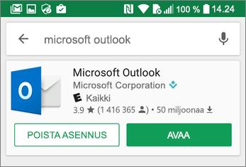 Avaa Outlook-sovellus napauttamalla Avaa.