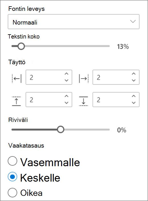 Teksti muotoilu vaihtoehdot