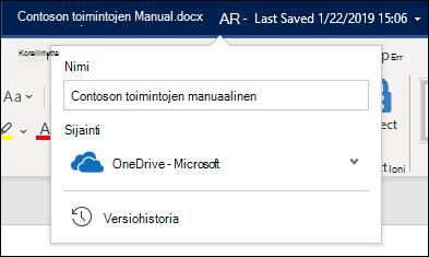 Asiakirjan otsikon avattava valikko Word for Office 365:ssä