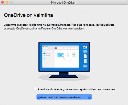 Näyttökuva ohjatun Tervetuloa OneDriveen -toiminnon viimeisestä ruudusta Macissa