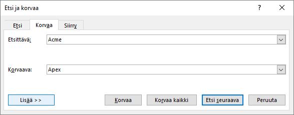 Outlookin Etsi ja korvaa -valintaikkuna.