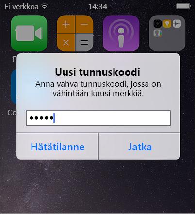 Mobiilisalasanan luominen iPhonella