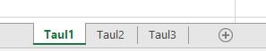 Excel-ruudun alaosassa näkyvät Excel-taulukon välilehdet