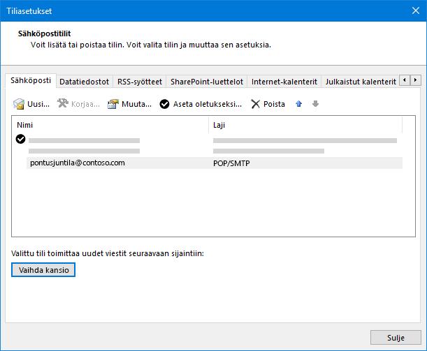Outlook-tilin asetukset-valinta ikkuna