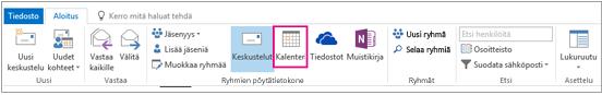 Outlookin ryhmien valintanauhan Kalenteri-painike