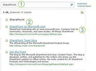 Kolme parasta SharePoint Server -valintaa näkyvät hakutulossivulla ensimmäisinä