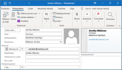 Yhteystiedon lisääminen Outlookiin