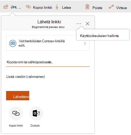 Näyttökuva Jaa-valintaikkuna, jossa hallinta Access-linkki näkyy napsauttamalla kolmea pistettä.