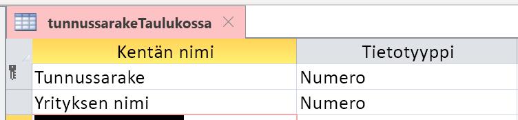Käyttäjätiedot-saraketta ei tunnisteta oikein Laskuri-sarakkeeksi