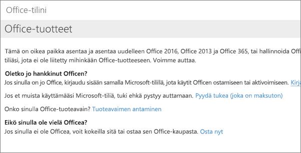 Sivu, jonka näet, jos olet kirjautunut sisään Office-tilillesi käyttämällä väärää sähköpostiosoitetta ja salasanaa