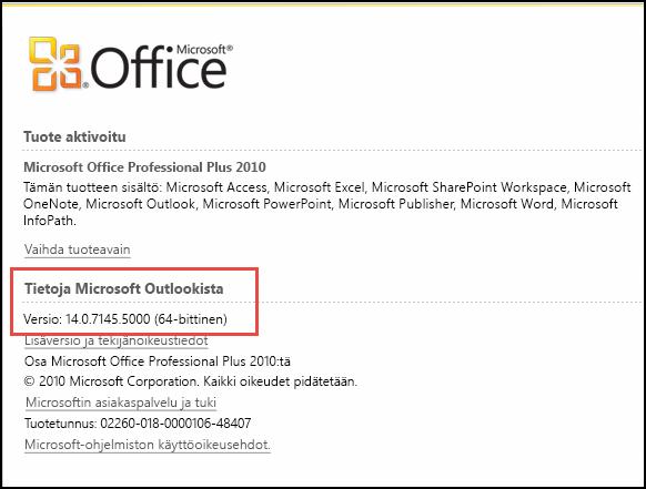 Näyttökuva sivusta, jolla Outlook 2010 -version voi tarkistaa kohdassa Tietoja Microsoft Outlookista