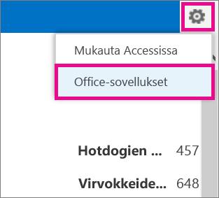 Asetukset-valikon Officen apusovellus -komento