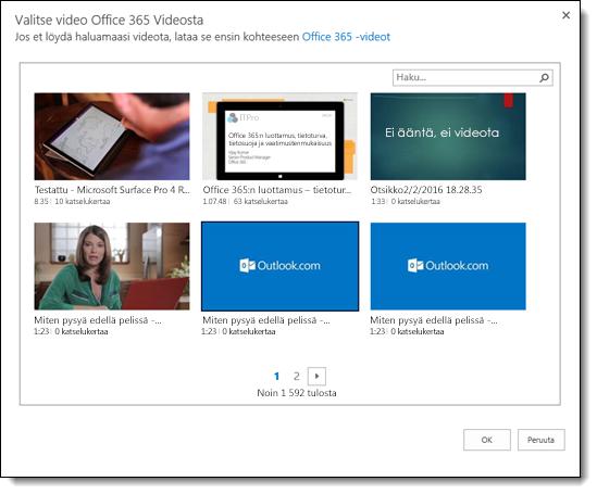Office 365 Video valitseminen videon upottaminen