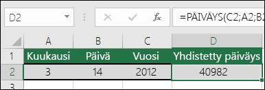 PÄIVÄMÄÄRÄ-funktion 1. esimerkki