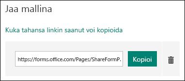 Kopioi ja poista-painikkeiden vieressä lomakkeen mallin URL-linkki.