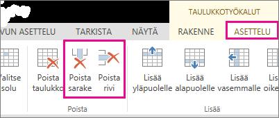 Taulukkotyökalut-valintanauhan Poista taulukko- ja Poista rivi-komentojen kuva