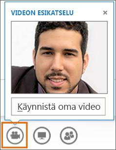 Näyttökuva kokouksen Aloita oma video -toiminnosta ja videon esikatselusta