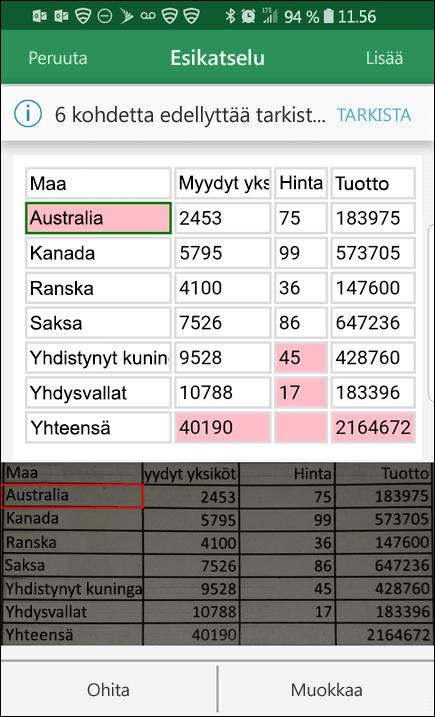 Excelin Tietojen lisääminen kuvasta -toiminto tarjoaa mahdollisuuden korjata ongelmia, joita esiintyy tietoja muunnettaessa.