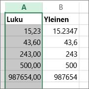 esimerkki siitä, miten luvut esitetään eri muodoissa, kuten Luku- ja Yleinen-muodossa