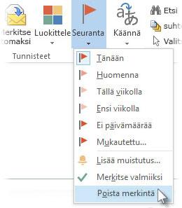 Valintanauhan Poista merkintä -komento