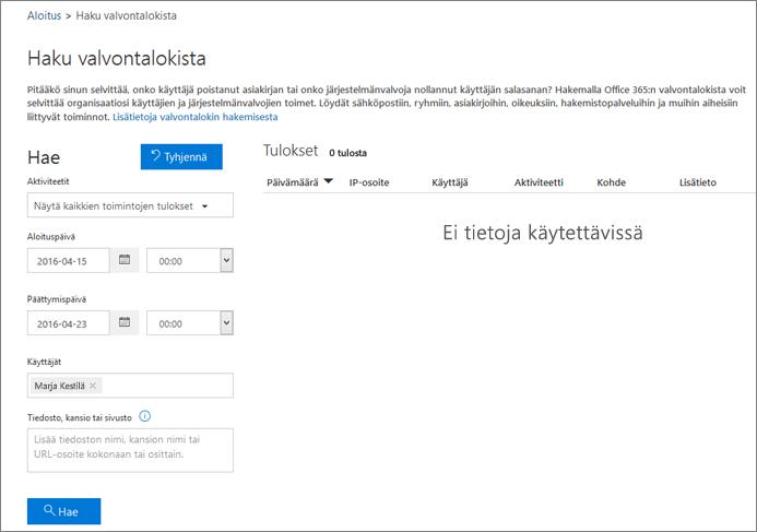 Office 365 -tapahtumaraportti, jossa näkyy kaikki ekstranet-kumppanin toiminta
