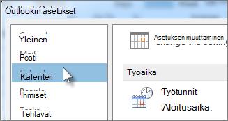 Valitse Outlookin asetuksissa Kalenteri.