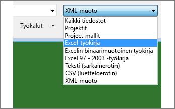 Tietoja sisältävän Excel-työkirjan valitseminen