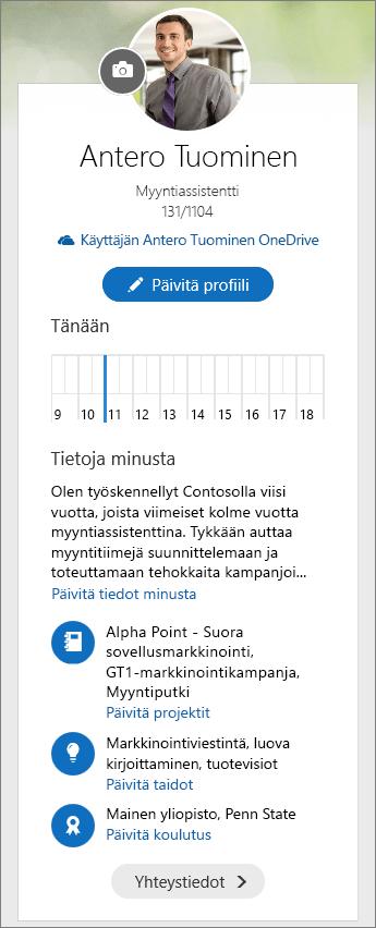 Näyttökuva Delven valikkonäytön Tietoja minusta -oletussisällöstä.