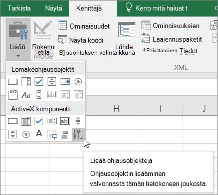 Valintanauhan ActiveX-komponentit